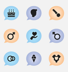 Set of 9 editable folks icons includes symbols vector