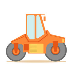 Small orange paver machine part of roadworks and vector