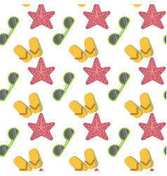 Star fish and sunglasses seamless pattern vacation vector