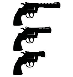 Three black revolvers vector