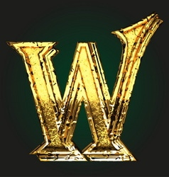 w golden letter vector image vector image