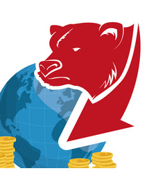 Wall street bear world money vector