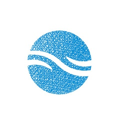 Wave water icon abstract icon symbol with hand vector image vector image