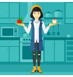 Woman with apple and cake vector image