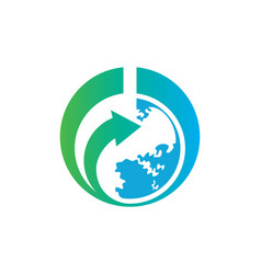 World earth arrow logo vector