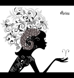 Zodiac sign aries fashion girl vector image