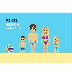 Pixel beach family vector