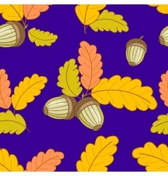 Dark blue pattern with leaves and acorns-01 vector