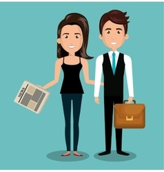 Businessman and woman reading design vector
