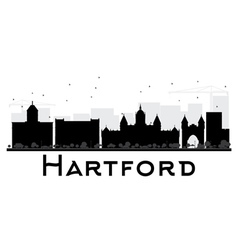 Hartford city skyline black and white silhouette vector