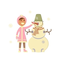 Baby girl with snowman vector image