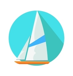 Boat sign symbol in round web button yacht at sea vector