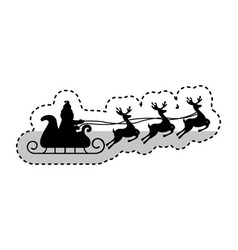santa claus carriage with reindeer flying isolated vector image