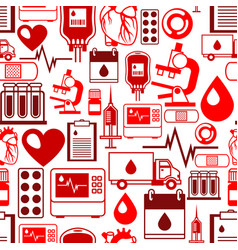 seamless pattern with blood donation items vector image