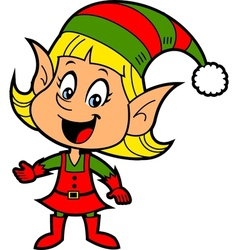 Girl christmas elf vector