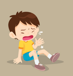 Boy having bruises on his leg vector
