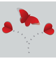 Red paper butterfly and hearts2 vector