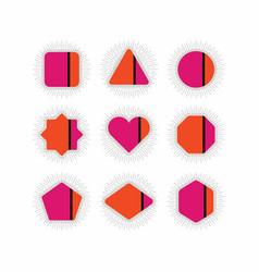 Abstract retro pink orange geometrical icons set vector