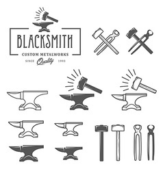 Vintage blacksmith labels and design elements vector image