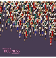 3d isometric of women business community a crowd vector