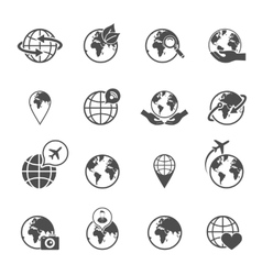 Globe earth icons set vector