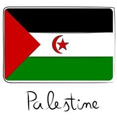 Palestine flag doodle vector image