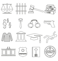 Justice and law black outline icons set eps10 vector