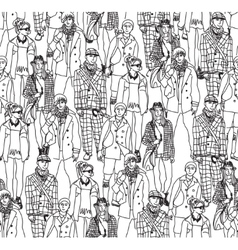 Fashion crowd people seamless pattern vector