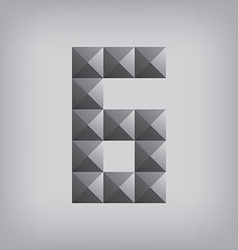 6 number six alphabet geometric icon and sign vector image