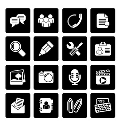 Black chat application and communication icons vector