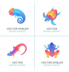 Set of logo design templates in bright gradient vector