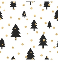 Gold shimmer glitter polka dot and black tree vector