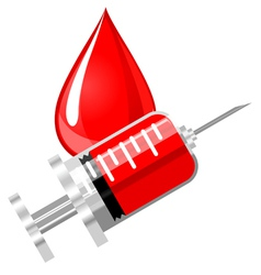 Blood drop and syringe vector