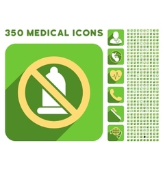 Forbidden condom icon and medical longshadow icon vector