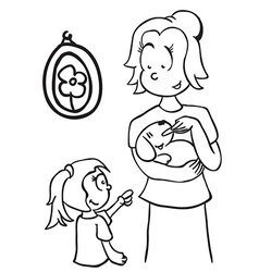 Simple black and white mom feeding a dog vector