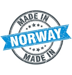 Made in norway blue round vintage stamp vector