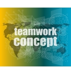 Teamwork concept - business growth on touch screen vector