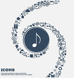 Musical note music ringtone icon sign in the vector