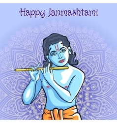 Hindu young god lord krishna happy janmashtami vector