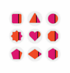 abstract retro pink orange geometrical icons set vector image vector image