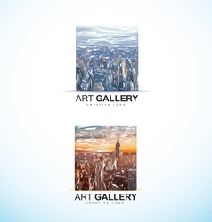 Art gallery painting logo abstract vector