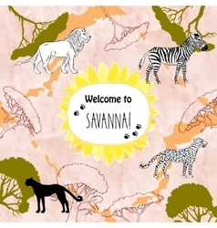 Background with savanna animal vector
