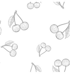 Cherries outline hand drawn sketch seamless vector