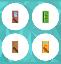 flat icon door set of exit entrance door and vector image vector image