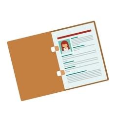 Folder with woman curriculum vitae vector