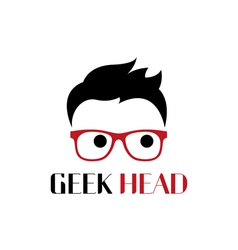 Geek head logo template vector