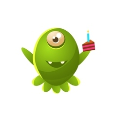 Green one-eyed toy monster with slice of cake vector