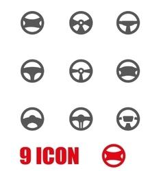 Grey steering wheels icon set vector