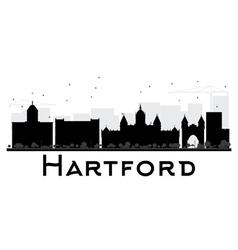 Hartford city skyline black and white silhouette vector