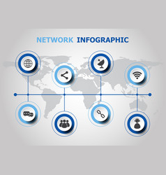 Infographic design with network icons vector